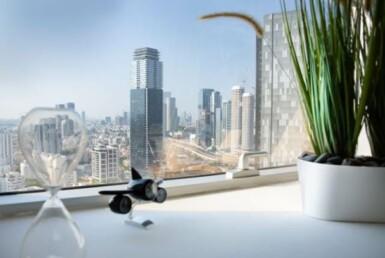 """82 מ""""ר משרד להשכרה במגדל ידוע בבורסה, נוף לים"""