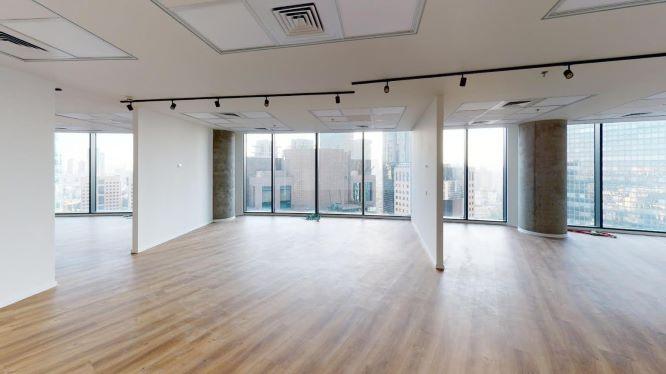 """490 מ""""ר משרד להשכרה במגדל ספיר בבורסה, אופן ספייס ונוף"""